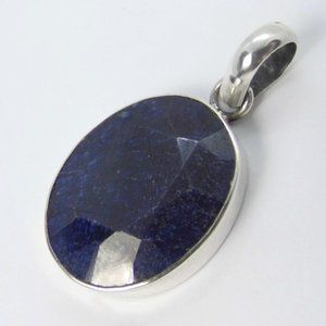 Sterling Silver Oval SAPPHIRE 25x20 mm Pendant